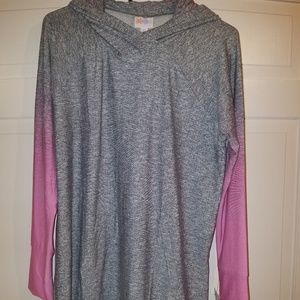 LuLaRoe Large BCA Amber Hoodie Gray Pink Ombre NWT